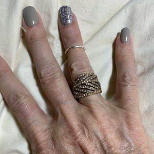 NWT J Crew Pavé Feather Ring